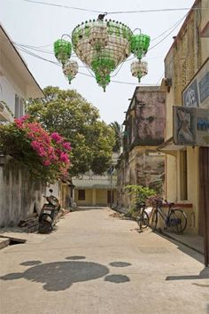 Jugaad--  chandelier in Pondicherry made from bottles and tied with wires--a creative way to light up Pondicherry's streets with recycled materials and with attention to aesthetics