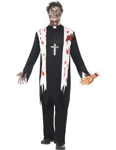 Horror Zombie Priester Pfarrer Halloween Kostüm schwarz-weiss-rot - Artikelnummer: 520650000 - ab 29.99EURO - bei HORRORKLINIK.de!