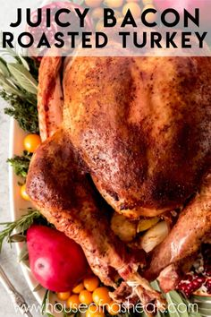 This Bacon Roasted Thanksgiving Turkey recipe makes an incredibly flavorful, moist bird that is the perfect centerpiece for your holiday meal! Thanksgiving Dinner For Two, Thanksgiving Recipes, Holiday Recipes, Christmas Desserts, Bacon Recipes, Cooking Recipes, Whole Turkey Recipes, Best Roast Turkey Recipe, Roasted Turkey