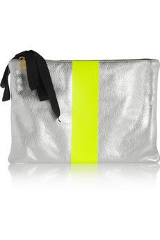 Flat metallic and neon leather clutch by: Clare Vivier Nokes-a-Porter Global Cos Bags, Clare Vivier, Zoe Karssen, Silver Flats, Yellow Accents, Leather Clutch, Fashion Bags, Sunglasses Case, Coin Purse