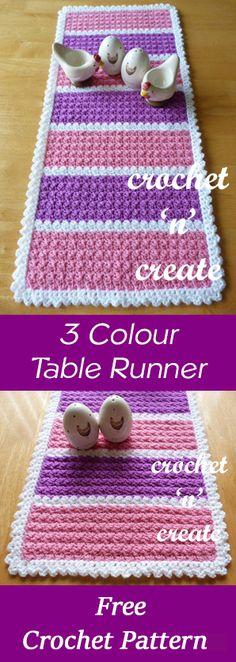 3 colour table runner | free crochet pattern | #crochet