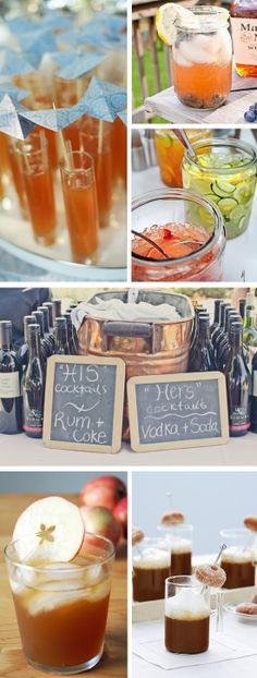 signature cocktails/drinks station Wedding Reception Food, Wedding Pics, Reception Ideas, Wedding Ideas, Wedding Dresses, Cocktail Drinks, Cocktails, Cocktail Ideas, Party Drinks
