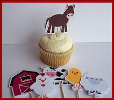 Set of 12 Farm Buddies Cupcake Toppers for $6 by The Birthday House on Etsy