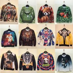 hot sale 2015 brand hipster 3D animal print element swag clothes Hoodie sudaderas graphic crewneck sweatshirt for men plus size