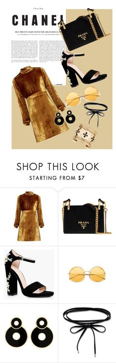 """Golden Girl"" by kenyaniaomi on Polyvore featuring A.L.C., Prada, Boohoo, Thomas Sabo and Aurélie Bidermann"