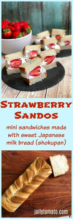 Strawberry Mini-Sandos (Japanese Fruit Sandwiches) - Jolly Tomato recipes and posts - Sweetened Whipped Cream, Homemade Whipped Cream, Summer Recipes, Great Recipes, Favorite Recipes, Japanese Milk Bread, Japanese Grocery, Fruit Sandwich, Delicious Desserts