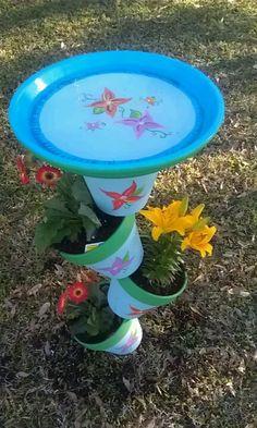 Bird Bath Made From Terracotta Pots Metal Dowel Rod Painted By Jen Turned