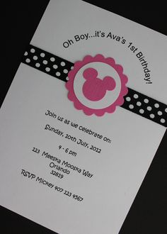 12x Minnie Mouse Invitations with Envelope - Birthday Party/Baby Shower. $18.00, via Etsy.
