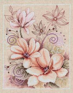 pale flowers cross stitch - set of 2 on this site (1/2)