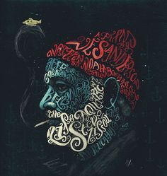 The Life Aquatic with Steve Zissou, typographic portrait from Peter Strain. More works on his portfolio. Via John's Graphisme.