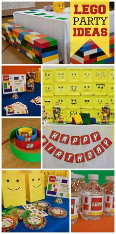 A Lego boy birthday party with Lego block benches, building Lego cars, a race and a coloring wall! See more party planning ideas at CatchMyParty.com!