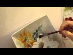 Girasoles: Pintura en Porcelana Parte I - YouTube