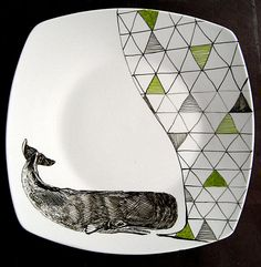 Geometric Singing Whale Illustrated Plate. €20,00, via Etsy.