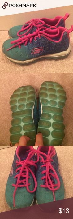 """Skechers """"Skech-air"""" size 13 girls Turquoise/ magenta and blue skech-air sneakers. Air pocketed bottom.  Memory foam inside lining. Only wear is on toes as seen. Hence price. No holes in actual shoes Skechers Shoes Sneakers"""