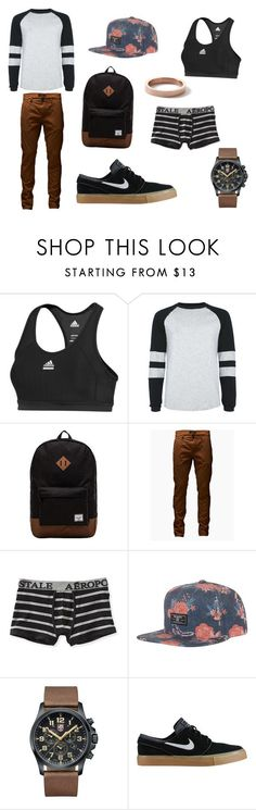Casual by laispegas16 on Polyvore featuring adidas, Topman, Herschel Supply Co., Jack Jones, Aéropostale, Billabong, Luminox, NIKE e tomboy