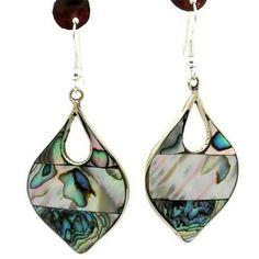 Abalone Teardrop Alpaca Silver Earrings Handmade and Fair Trade – Items You Cant…