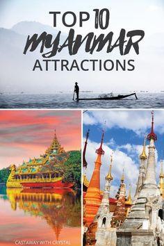 10 Reasons Why You NEED to Visit Myanmar RIGHT NOW! The Top 10 Myanmar Attractions and Activities Things to do in Burma See the beautiful temples in Bagan, Kyaikhtiyo Pagoda, Shwedagon Pagoda and Yangon. See Mandalay, Inle Lake and take incredible p Yangon, Myanmar Travel, Asia Travel, Vietnam, Phuket, Mandalay, Laos, Amazing Destinations, Travel Destinations
