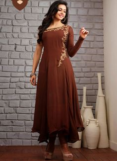 Brown Printed Georgette Anarkali Suit With Patch Work