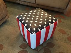 nice design american flag leather vinyl bench by LANGElfurniture