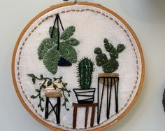 Succulent embroidery || Minnestota-based hand-made arts and crafts. by EmilyDoesArtThings