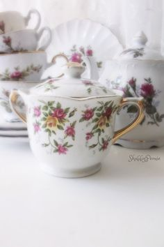 Vintage Moss Rose China Collection. Shabby chic by 3vintagehearts