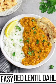 If you are looking for satisfying comfort food that requires minimal prep time and simple ingredients only, then this Red Lentil Dahl is perfect for you. It's a dish that you and your whole family will love! #veganhuggs #comfortfood #vegandinner Red Lentil Dahl Recipe, Red Lentil Recipes, Indian Food Recipes, Whole Food Recipes, Vegetarian Recipes, Dinner Recipes, Healthy Recipes, Vegan Dahl Recipe, Vegan Soups