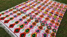 "110""X75"" Hand-woven Moroccan Cotton Throw Blanket Inspired Moroccan Wedding Blanket, Can used as Moroccan carpet"