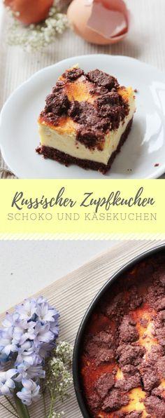 Russischer Zupfkuchen - die perfekte Mischung aus Schokolade und Käsekuchen! Jetzt mit diesem einfachen und leckeren Rezept nachmachen!