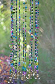 decor diy sun catcher turquoise purple and fuchsia wind chime, Sun catcher, Bohemian décor- Hippie style garden bells, Outdoor hanging decor, Dream catcher Turquoise And Purple, Fuchsia, Turquoise Beads, Hippie Stil, Diy Wind Chimes, Unique Wind Chimes, Crystal Wind Chimes, Beaded Curtains, Violet