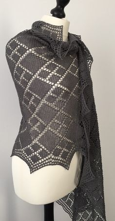 Free Knitting Pattern for Argyle Stole - Rectangular shawl with argyle lace design. Fingering yarn. Designed by Anna Kotsolainen