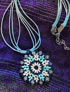 Free pattern for beaded pendant Blue Snowflake | Beads Magic ~ Seed Bead Tutorials