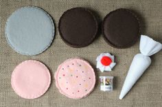 Felt Plush Birthday Cake Decorate Baking Set  Need a sweet treat? A unique birthday gift? Or just something special for a friend? This cake baking set is perfect! Its also customizable - if you would like different colors, just let me know in the notes section at checkout. Made from premium, eco-friendly felt and hand stitched. Set includes:  - 1 gray cake pan (approximately 5) - 2 round cake layers (approximately 4 x 1) - 2 layers of frosting, top layer has scalloped edge and sprinkles…