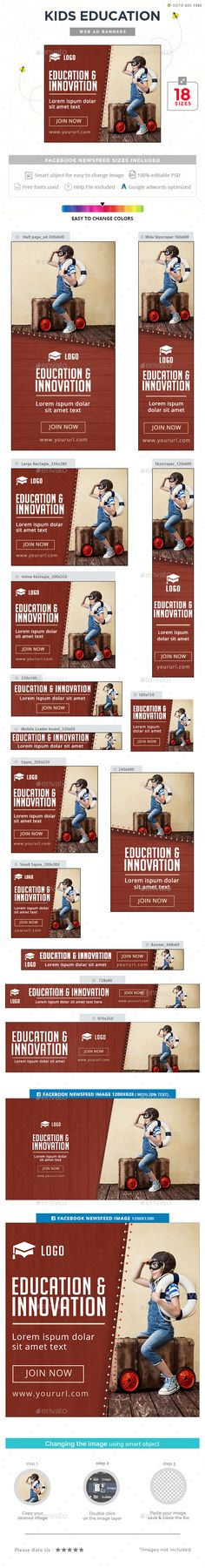 Buy Kids Education Banners by Hyov on GraphicRiver. Promote your Products and services with this great looking Banner Set. Education Banner, Education Icon, Kids Education, Template Web, Banner Template, Website Template, Art Lessons Elementary, Lessons For Kids, Online Degree Programs