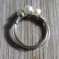 Handmade 925 sterling silver wire pearl ring size 6.5 | pavlos - Jewelry on ArtFire