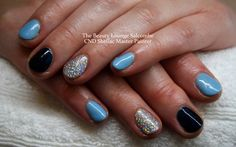 CND Shellac nails in Azure Wish and Midnight Swim. Baby Blue and Dark shimmering navy blue. #cndshellac #salcombe