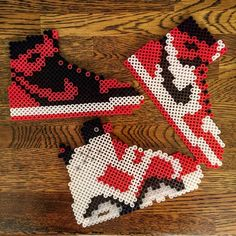Nike shoes perler beads by ariy_man Perler Bead Designs, Easy Perler Bead Patterns, Melty Bead Patterns, Hama Beads Design, Diy Perler Beads, Perler Bead Art, Beading Patterns, Pearl Beads Pattern, Peler Beads