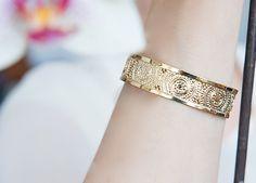 Gold Cuff bracelet, Mandala jewelry, Gold jewelry, Modern jewelry, Thin gold cuff bracelet, Dainty gold cuff, Delicate gold cuff