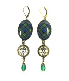 Scottish Tartan Jewelry - Ancient Romance - Black Watch Tartan Earrings  with Luckenbooth Charm and Emerald 76b7517afecf