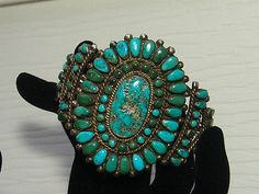 ANTIQUE-ZUNI-INDIAN-TURQUOISE-SILVER-CUFF-CLUSTER-BRACELET