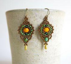 Yellow dangle earring Bohemian earrings by DandasCollection