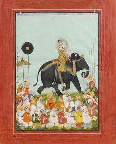 Maharana Jagat Singh (reg. 1734-1752) riding a young elephant, smoking a hookah, leading a procession of bearers on foot Mewar, circa 1780