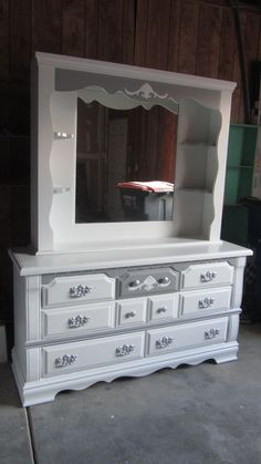 Fancy Dresser And Mirror Combo Hand Painted In White With Charcoal Gray Accents Silver Drawer