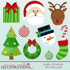 Simply Christmas Cute Christmas Digital Clipart by JWIllustrations,