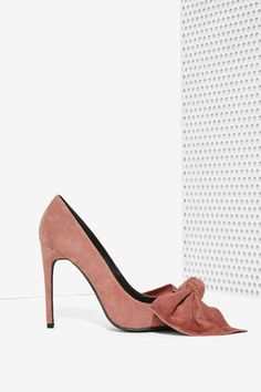Jeffrey Campbell Grandame Suede Bow Pump - Dusty Rose - Shoes