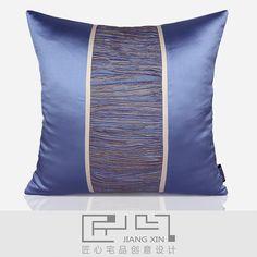 匠心宅品 法式/中式样板房软装靠包抱枕水蓝人丝双拼方枕(不含芯