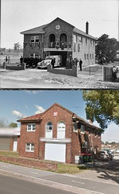 Penrith Ambulance Station, High Street, Penrith on its opening day, 28th November 1936 and in August 2013. [1936 - State Library of NSW>2013 - Google Street View. By Phil Harvey]