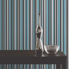 Fine Decor Tulipa Stripe Wallpaper in Charcoal, Teal and Silver. Striped Wallpaper Black, Stripe Wallpaper, Love Wallpaper, Pattern Wallpaper, Black Gold Bedroom, Black Gold Jewelry, Vintage Industrial, Lime, Teal