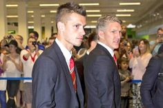 Today's new signings Morgan Schneiderlin and Bastian Schweinsteiger. Manchester Airport, Manchester United Football, Bastian Schweinsteiger, The Unit, Club, Beautiful, Game, Manchester United Soccer, Gaming