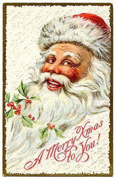 Vintage Christmas Clip Art - Jolly Santa - The Graphics Fairy