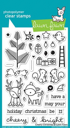 Lawn Fawn - Clear Acrylic Stamps - Cheery Christmas